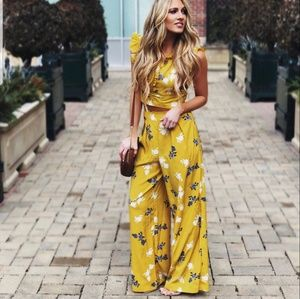 Mustard Yellow Floral High Waist Pant and Crop Top